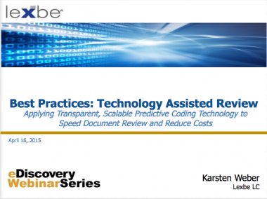 Best Practices: Technology Assisted Review