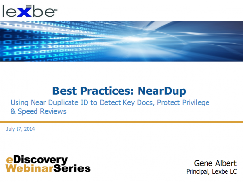 Best Practices: NearDupe
