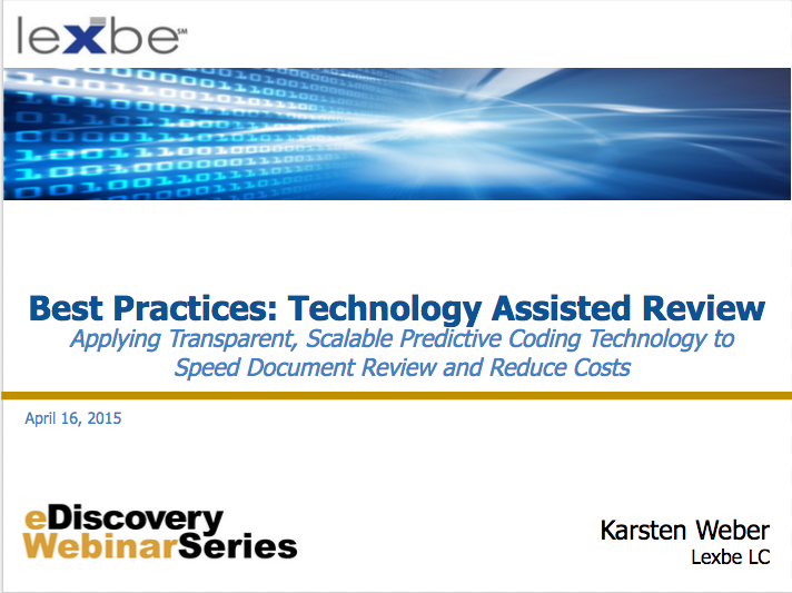 Technology Assisted Review Webinar
