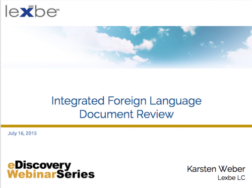 Integrated Foreign Language Document Review