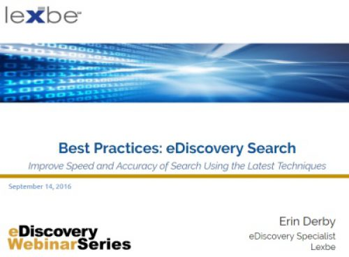 eDiscovery Search Best Practices