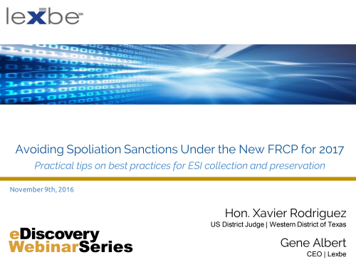 Avoiding Spoliation in 2017 Under New FRCP Amendments