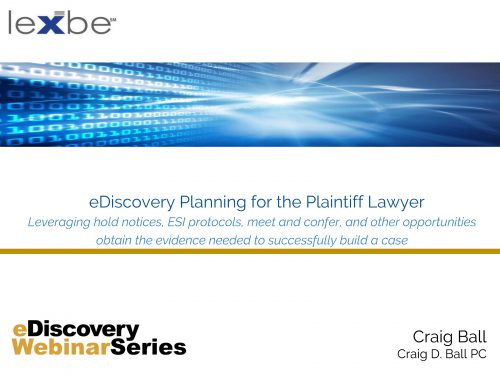 eDiscovery Planning for the Plaintiff Lawyer