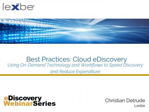 Best Practices: Cloud eDiscovery